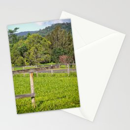 Broken fence in a rural area Stationery Cards