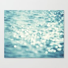 Sparkly Water Abstract Photography, Aqua Blue Sparkle Art Canvas Print