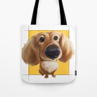 dachshund Tote Bags featuring dachshund by joearc