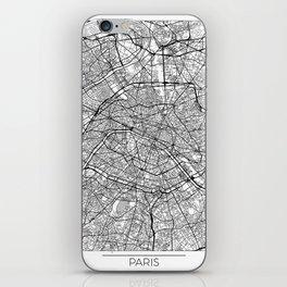 Paris Map White iPhone Skin
