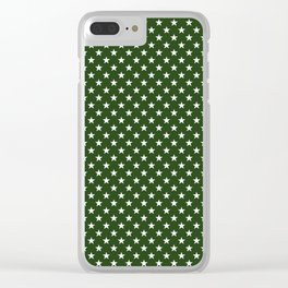 White Five Pointed Stars on Dark Forest Green Clear iPhone Case