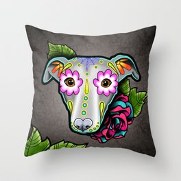 Greyhound - Whippet - Day of the Dead Sugar Skull Dog Throw Pillow