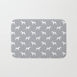 Airedale Terrier grey and white minimal dog pattern dog silhouette pattern Bath Mat