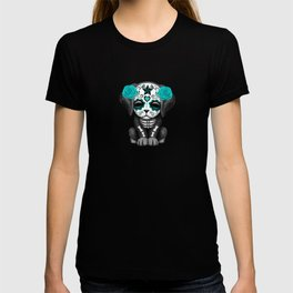 Cute Blue and Pink Day of the Dead Puppy Dog T-shirt