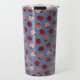 All over Modern Ladybug on Plum Background Travel Mug