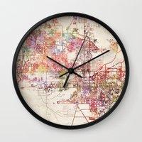phoenix Wall Clocks featuring Phoenix  by MapMapMaps.Watercolors
