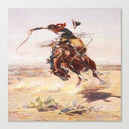 Vintage Western Cowboy Bronc Rider C.M. Russell Canvas Print