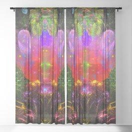 Cthulhu Starship Throne Sheer Curtain