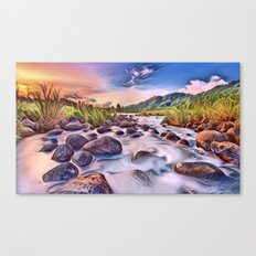 Gorgeous Epic River in Landscape with Rocks Canvas Print