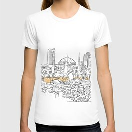 Modern and old Istanbul panorama drawing T-shirt