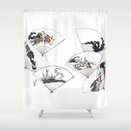 Mutamagawa senmen harimaze Hokusai Katsushika Ukiyo-E Japanese Shower Curtain