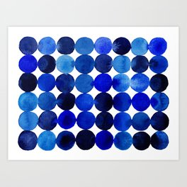 Blue Circles in Watercolor Art Print