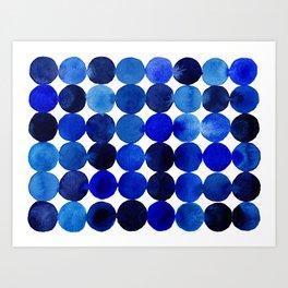 Blue Circles in Watercolor Art Print