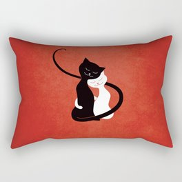 White And Black Cats In Love (red) Rectangular Pillow