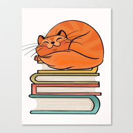 With Books And Cats Life Is Sweet Canvas Print