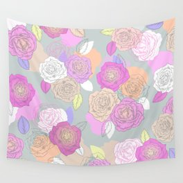 Roses, painted floral pattern Wall Tapestry