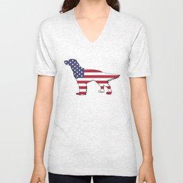 """English Setter """"American Flag"""" Unisex V-Neck"""