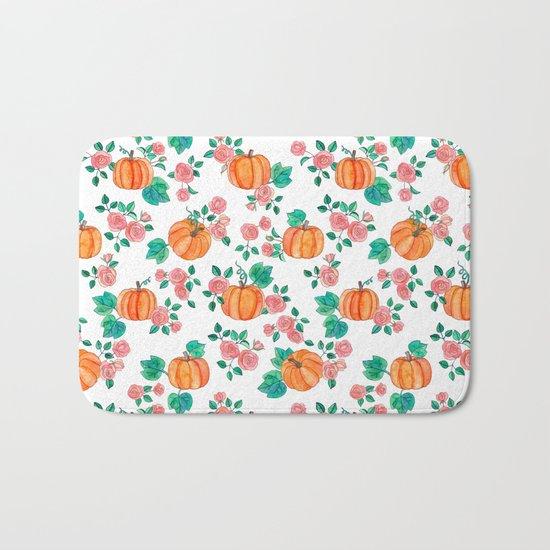 Pumpkins and Roses Bath Mat