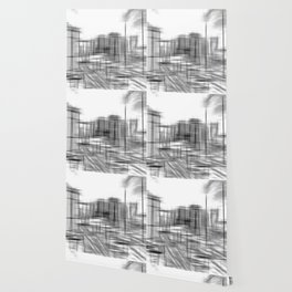 pencil drawing buildings in the city in black and white Wallpaper