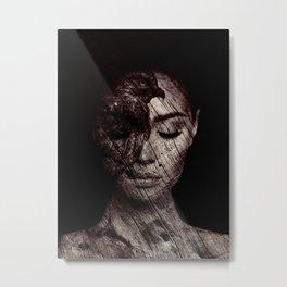 Girl with Hawk Metal Print