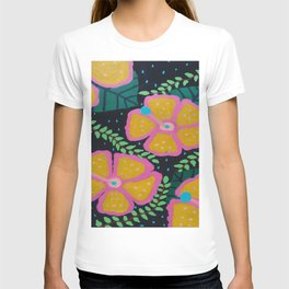 Large Yellow Hibiscus on Black T-shirt