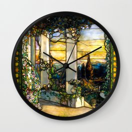 """Louis Comfort Tiffany """"Howell Hinds House Window"""" Wall Clock"""