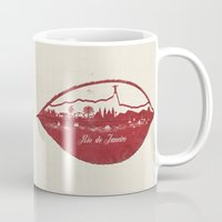 rio de janeiro Mugs featuring Rio de Janeiro Skyline by Paula Belle Flores
