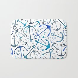 Nautical Watercolour Anchors Bath Mat