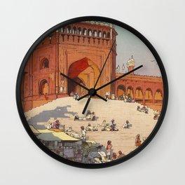 Hiroshi Yoshida Jami Masjid Vintage Japanese Woodblock Print East Asian Cultural Art Wall Clock