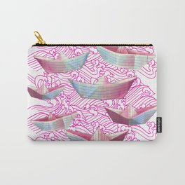 Pink waves and paper boats Carry-All Pouch