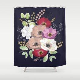 Anemones & Gardenia deep blue bouquet Shower Curtain