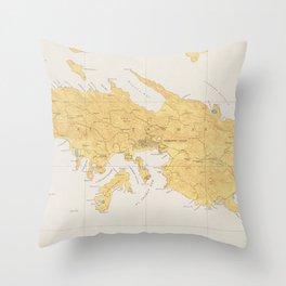 Vintage Map of St Thomas (1922) Throw Pillow