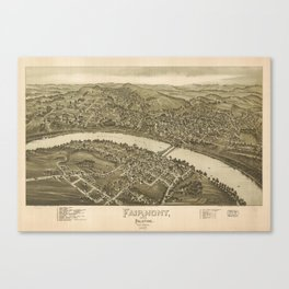 Vintage Pictorial Map of Fairmont WV (1897) Canvas Print