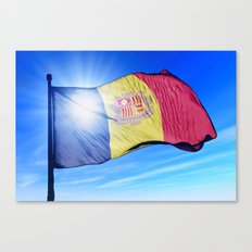 Andorra flag waving on the wind Canvas Print