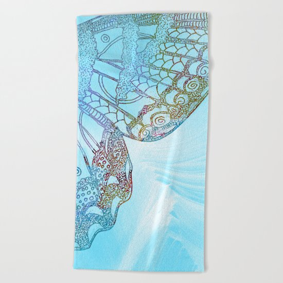 Colorful Abstract Butterfly Design Beach Towel
