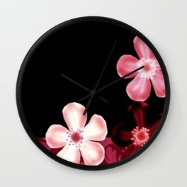 Retro 70s Flowers Pink Mauve Wall Clock