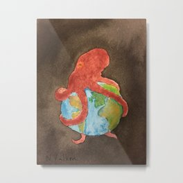 Octopus and Earth Metal Print