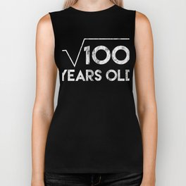 Square Root of 100 years old Celebration Party Biker Tank