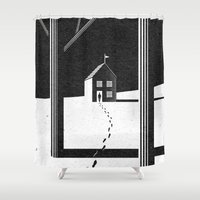 kafka Shower Curtains featuring Walking Home/Deposit NY by N / A