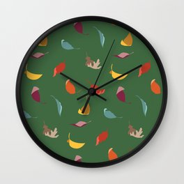 Fall Leaves on Green Wall Clock