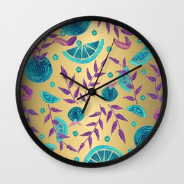 Neon Orange - Flat Gold Wall Clock