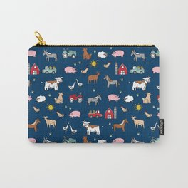 Farm animals nature sanctuary cow pig goats chickens kids gender neutral Carry-All Pouch