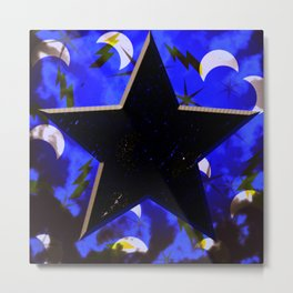 Black Star at Night Metal Print