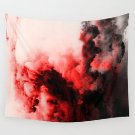 In Pain - Red And Black Abstract Wall Tapestry