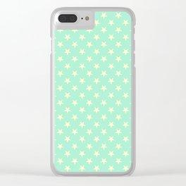 Cream Yellow on Magic Mint Green Stars Clear iPhone Case