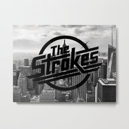 The Strokes Logo New York Black And White Metal Print
