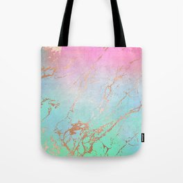 Rainbow Glamour Marble Texture Tote Bag