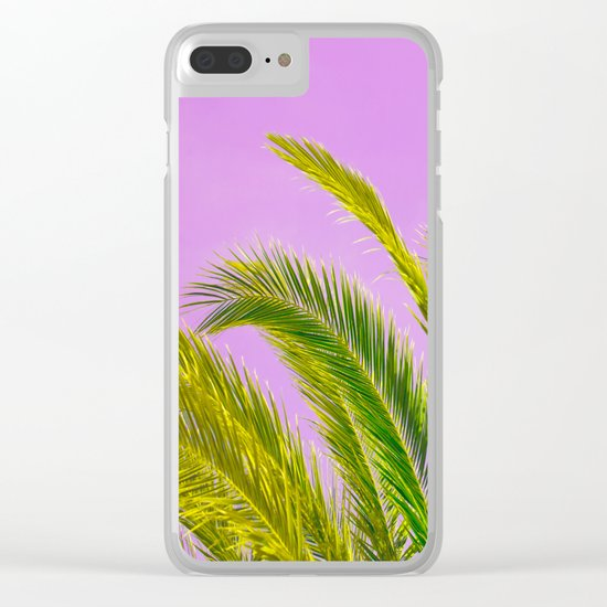 Green palm leaves on a pink background - #Society6 #Buyart Clear iPhone Case
