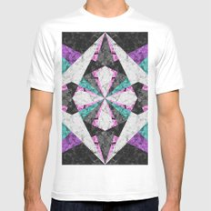 Marble Geometric Background G440 White MEDIUM Mens Fitted Tee