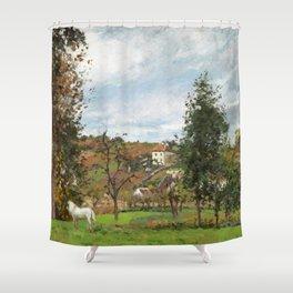"""Camille Pissarro """"Paysage avec cheval blanc dans un pré, L'Hermitage, Pontoise"""" Shower Curtain"""